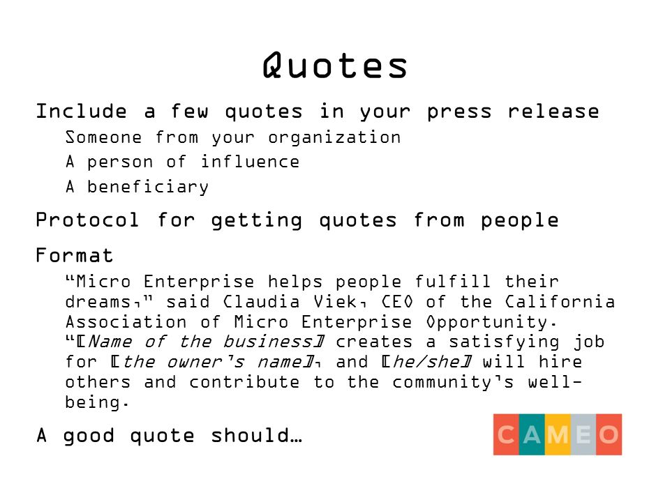 Press Releases A-to-Z Webinar Media Advisory For an event before