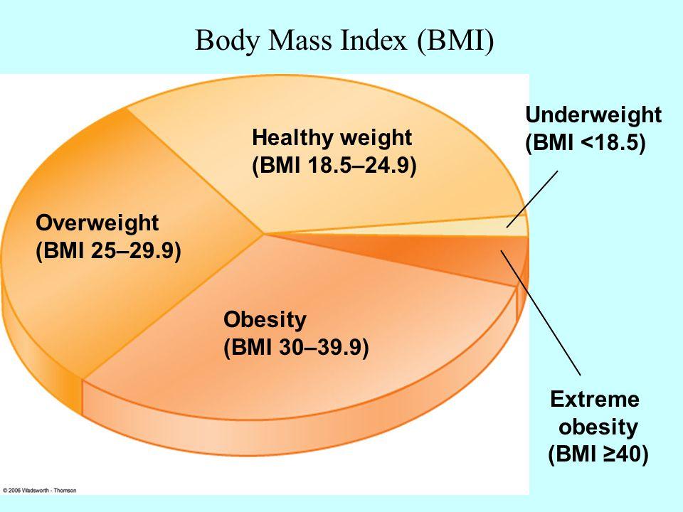 Overweight (BMI 25\u2013299) Healthy weight (BMI 185\u2013249) Underweight - weight bmi