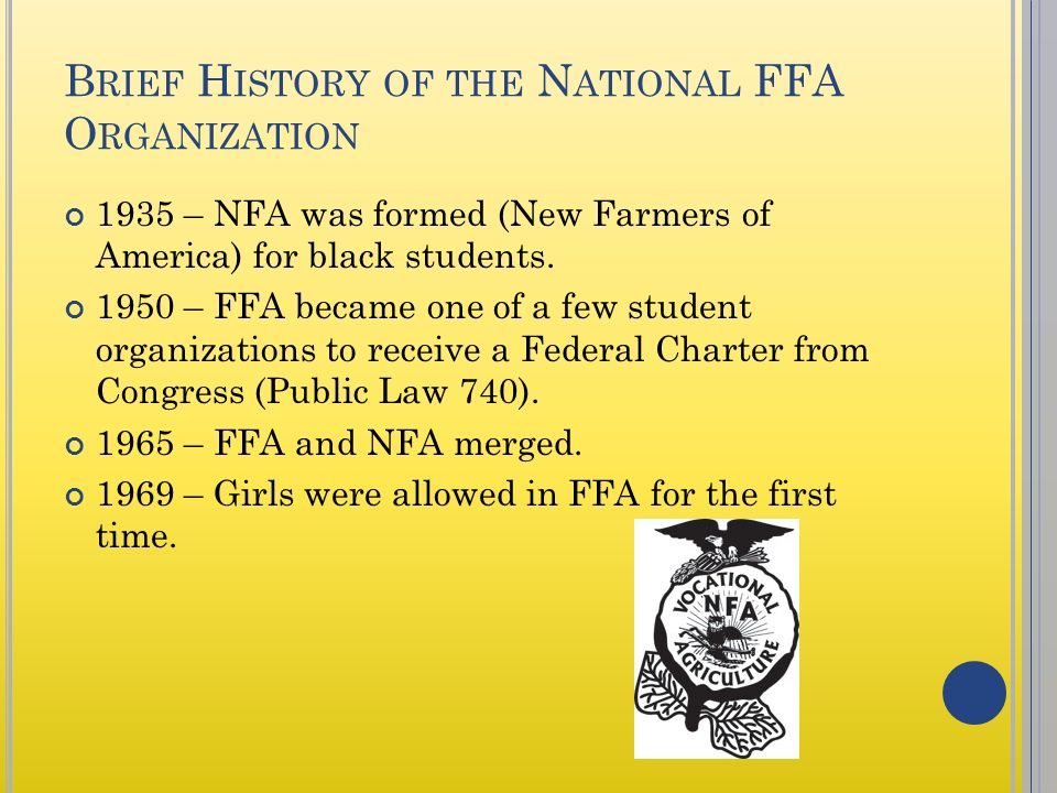 FFA AND L EADERSHIP D EVELOPMENT Objective 101 Understand the - new farmers of america