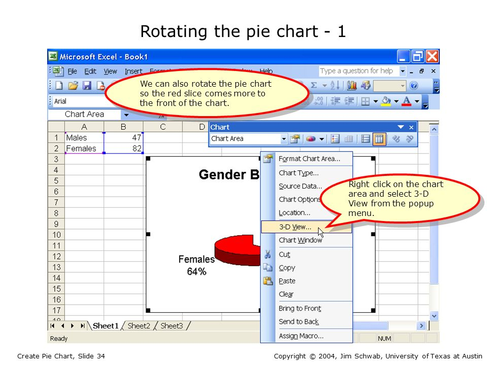 Create a Pie Chart Create Pie Chart, Slide 1Copyright © 2004, Jim