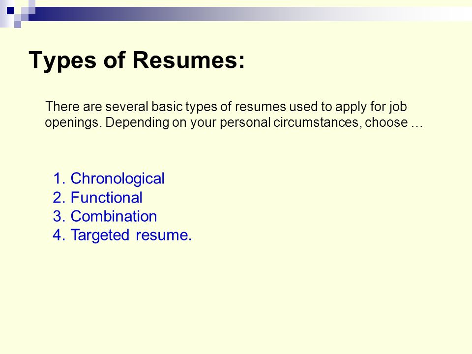 Beautiful Types Of Resume Ppt Pictures - Simple resume Office - 3 types of resumes