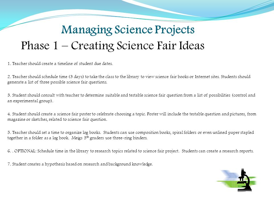 Managing Science Projects Phase 1 \u2013 Creating Science Fair ideas