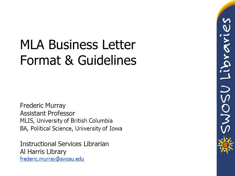 MLA Business Letter Format  Guidelines Frederic Murray Assistant