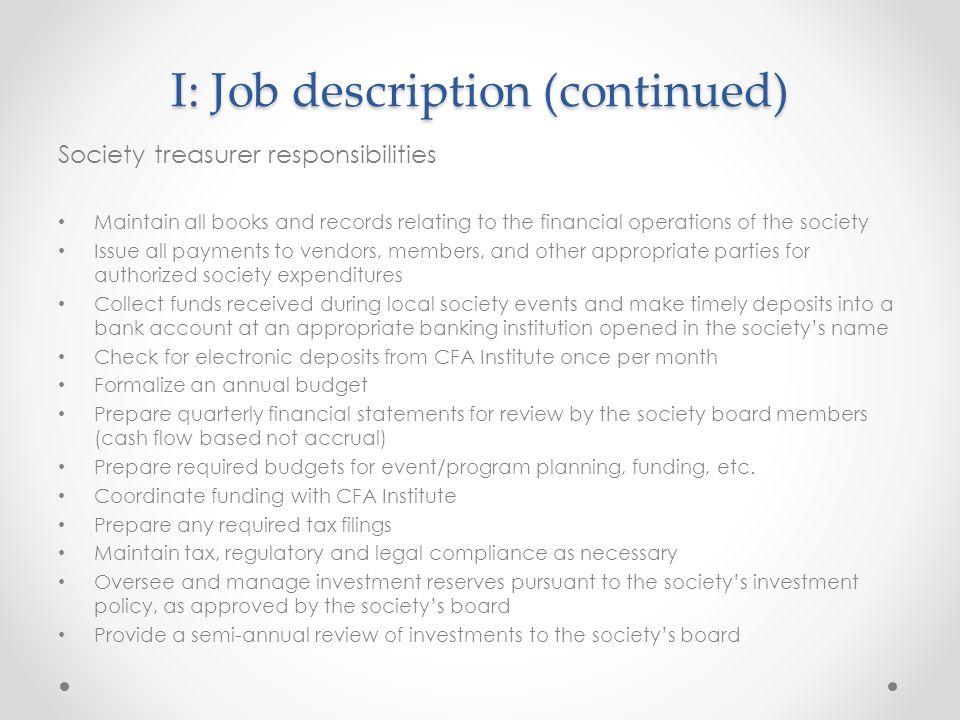 Society Treasury Board Meeting January 14, Agenda Job description