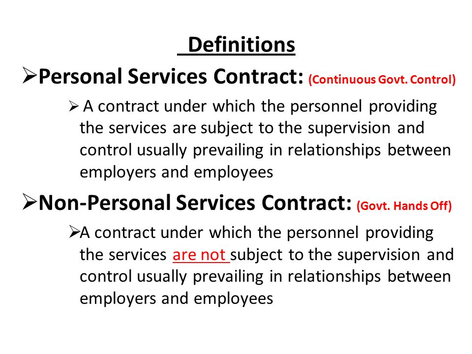 FAR Part 37 SERVICE CONTRACTS Service Contracts Governed by The - personal service contract