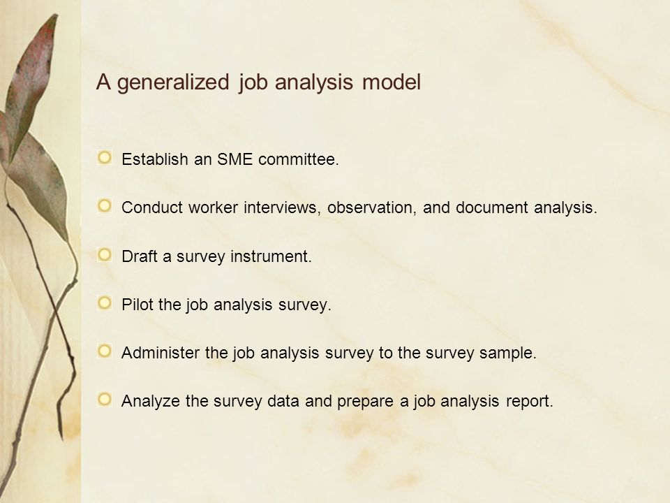Streamlined job analysis for exam and training manual development