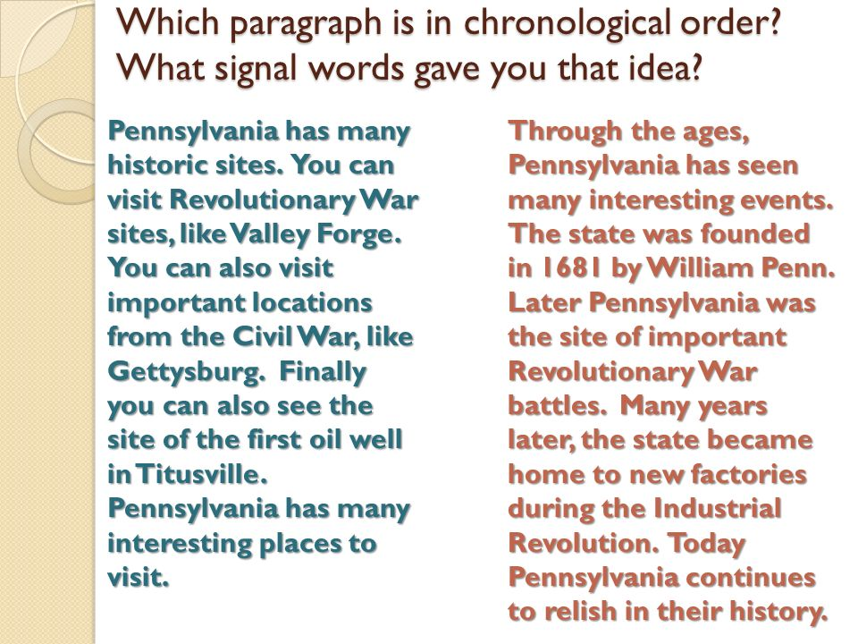 Short paragraph example of chronological order Custom paper Help