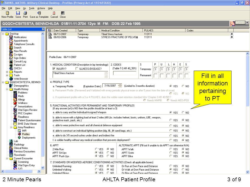 2 Minute Pearls AHLTA Patient Profile December of 9 2 MINUTE PEARLS - patient profile template