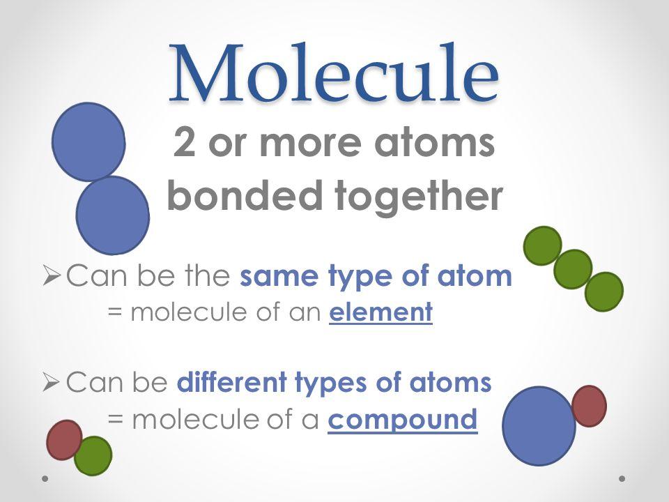Atoms (Elements) Molecules  Compounds Atom, Molecule or Compound - molecule vs atom