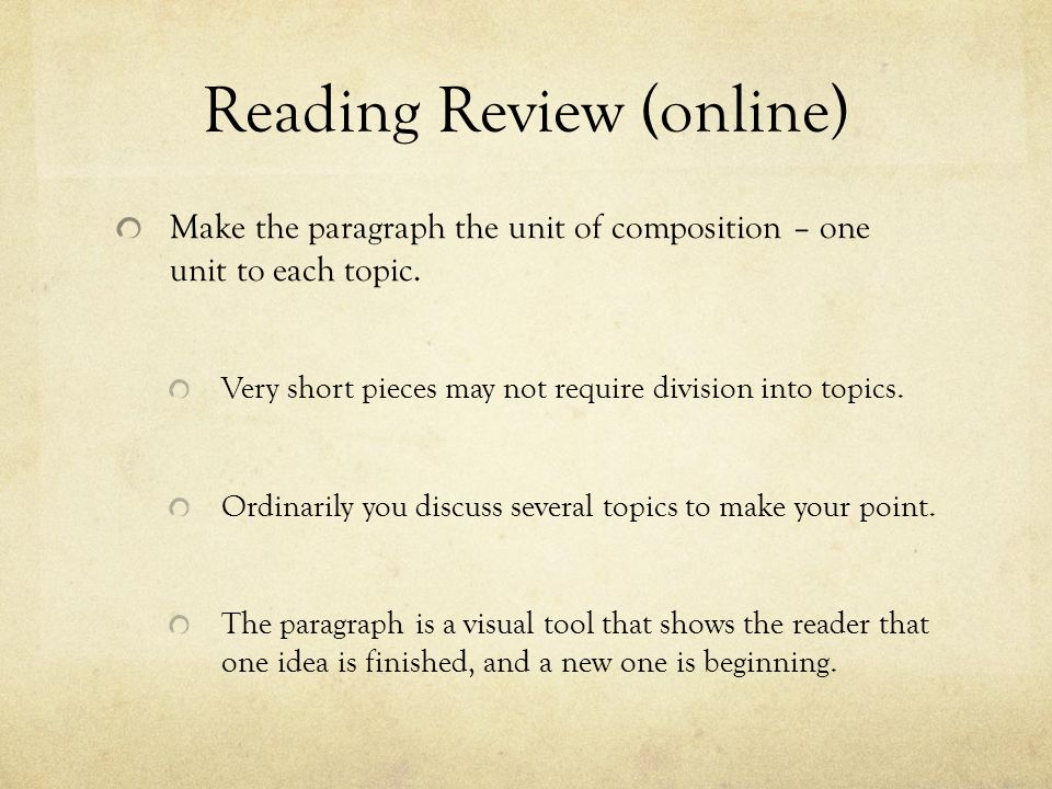 Welcome to English Composition Today\u0027s Class Review of the reading
