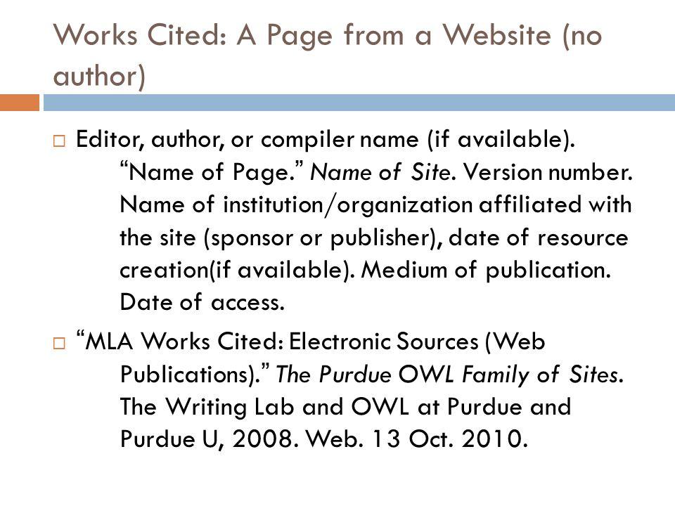 mla work cited website - Akbagreenw