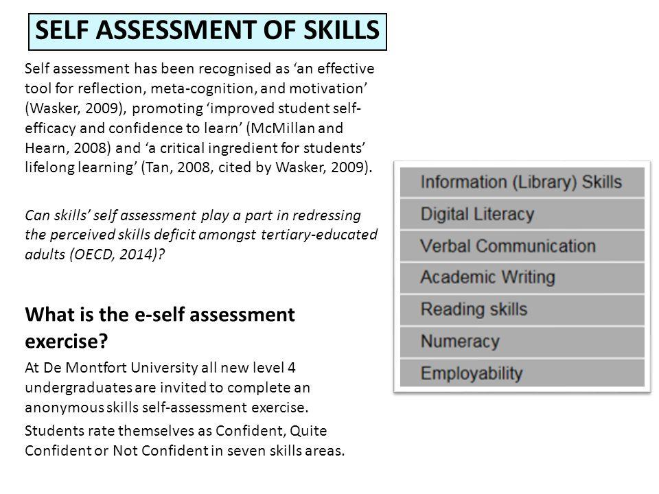 Self assessment of skills a lifelong process Di Turgoose and Marian - student self assessment