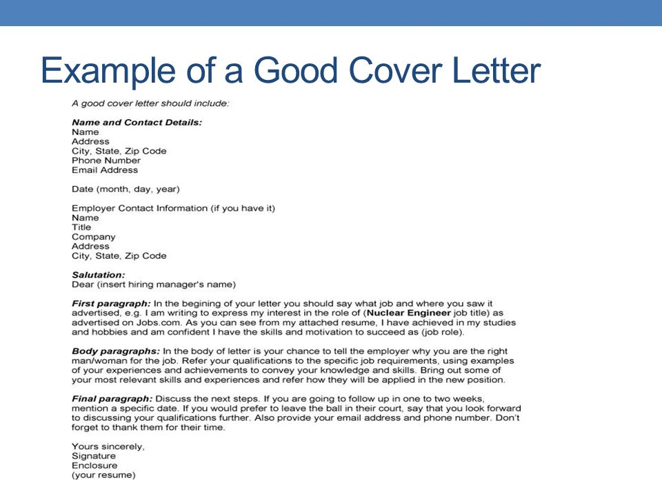 cover letter should include