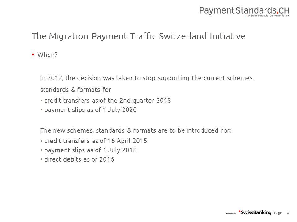 Migration Payment Traffic Switzerland Standard presentation for