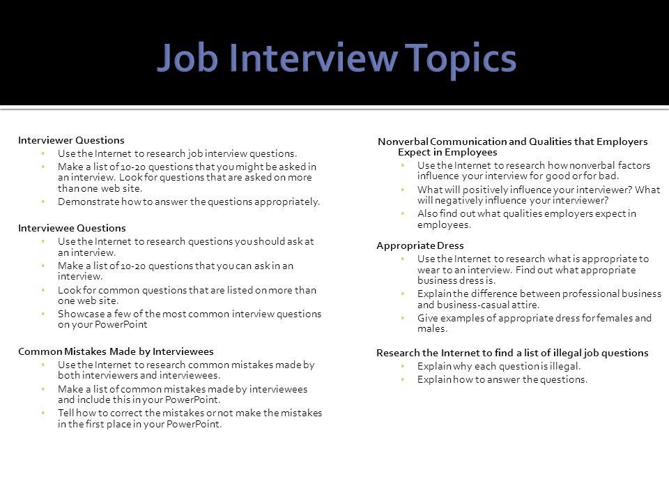 Bell Ringer/Announcements \u2013 (4 minutes)  Job Interview