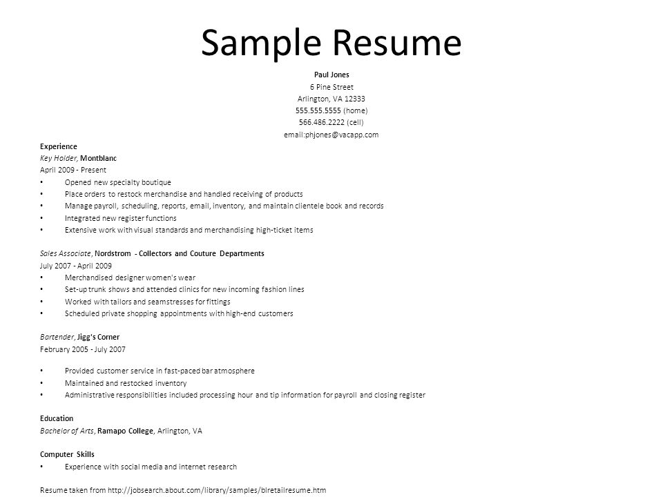 Differences Between Resumes and CVs Resume Primary objective is - ticket collector sample resume