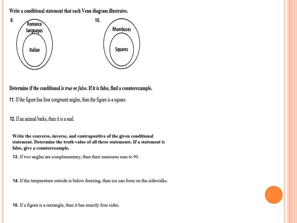 V ENN D IAGRAMS (G1 C ) O BJ  SWBAT WRITE STATEMENTS GIVEN A VENN