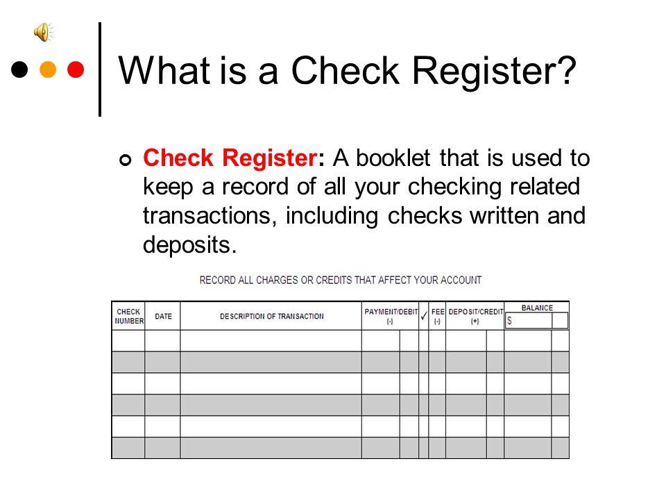 Checks and Balances Tutoring guide Checks, Check Registers and