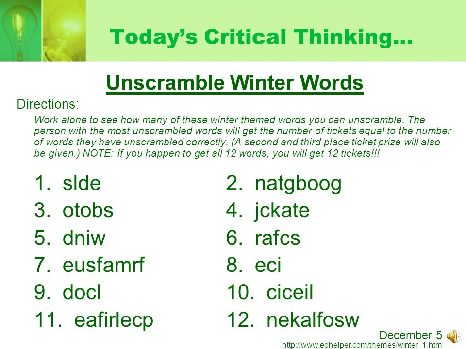 Today\u0027s Critical Thinking\u2026 Unscramble Winter Words Directions Work