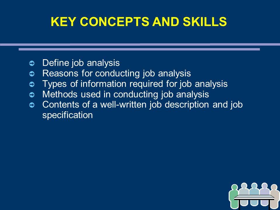 CHAPTER 3 \u2013 JOB ANALYSIS KEY CONCEPTS AND SKILLS ➲ Define job