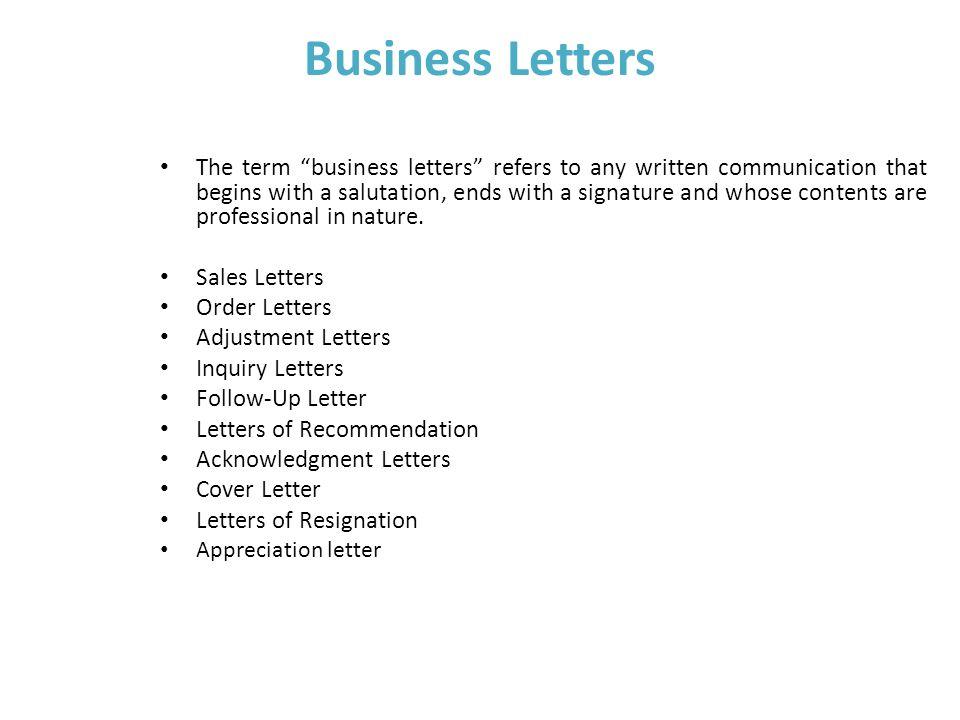 Unit \u2013 III Business Writing Skills Business Letters The term