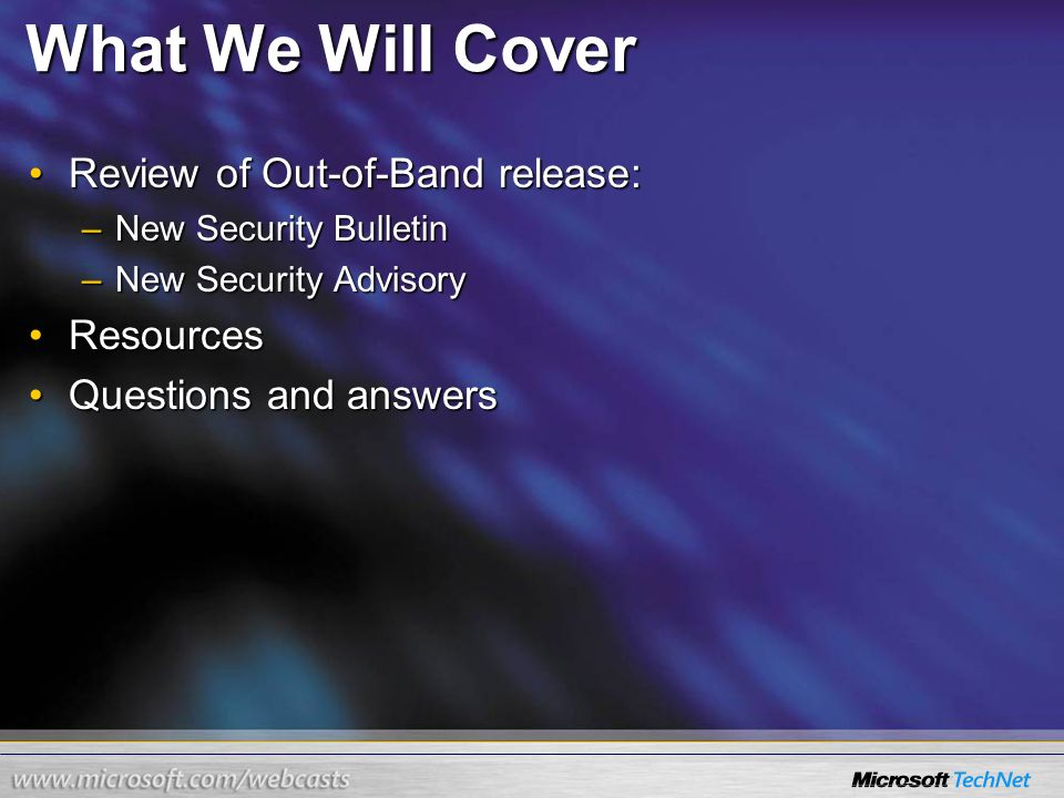 Information About Microsoft Out-of-Band Security Bulletins - ppt