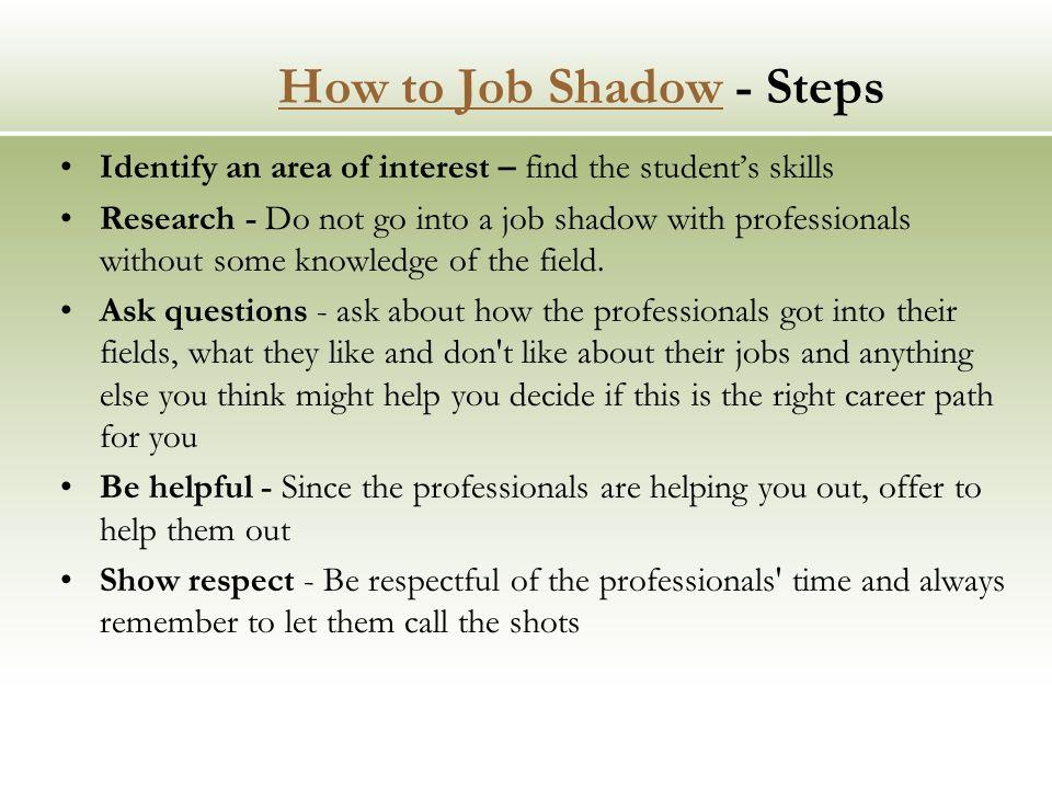 Job Shadow Job Shadowing is a popular on the job learning, career