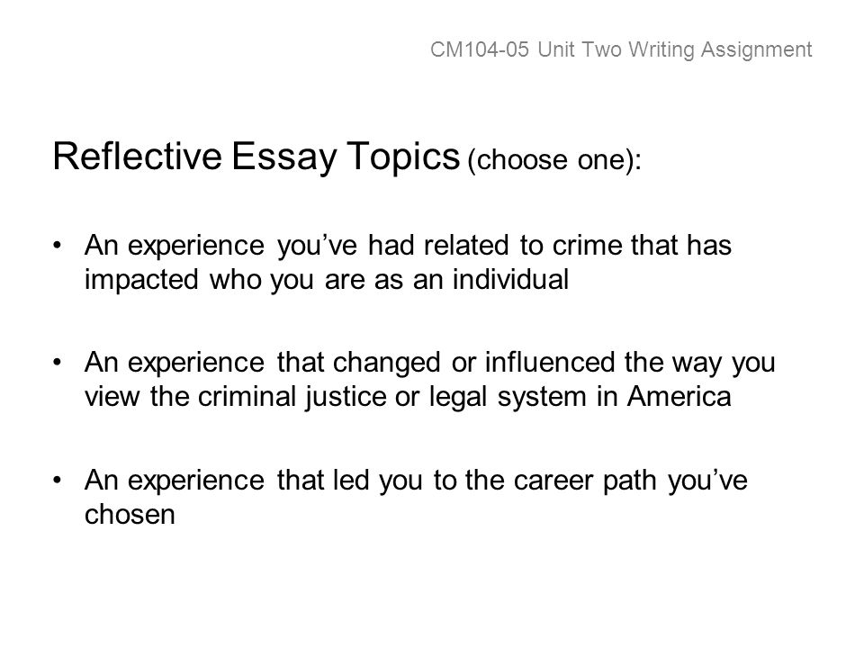CM Unit Two Writing Assignment Reflective Essay Topics (choose one