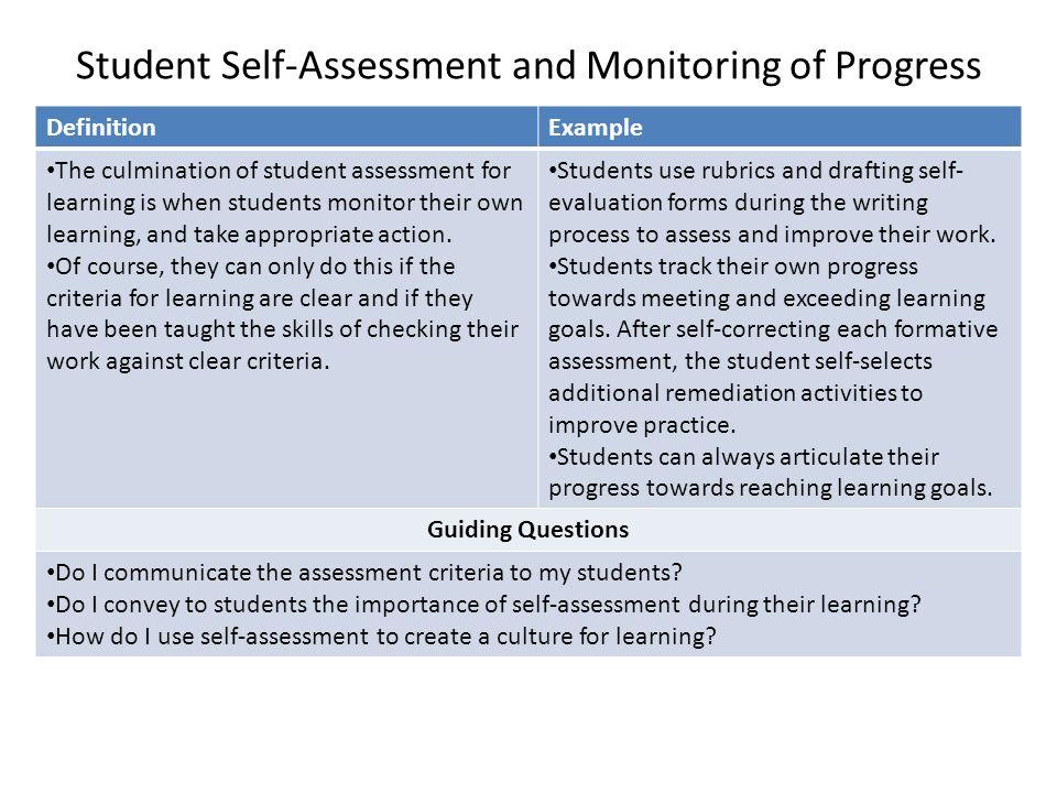 Refining Student Assessment Effective strategies for assessing - student self assessment