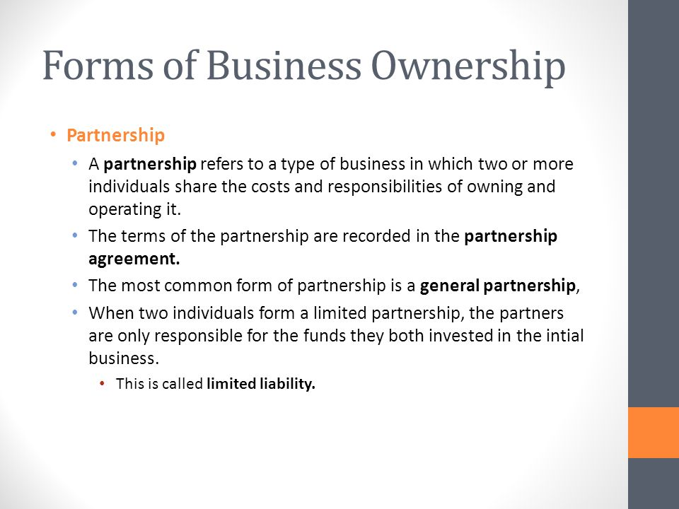 Unit 1 Introduction to Business  Forms of Business Ownership - ppt