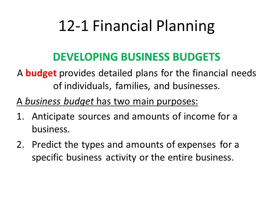 CHAPTER 12 FINANCIAL MANAGEMENT Financial Planning FINANCIAL - budget plans for families