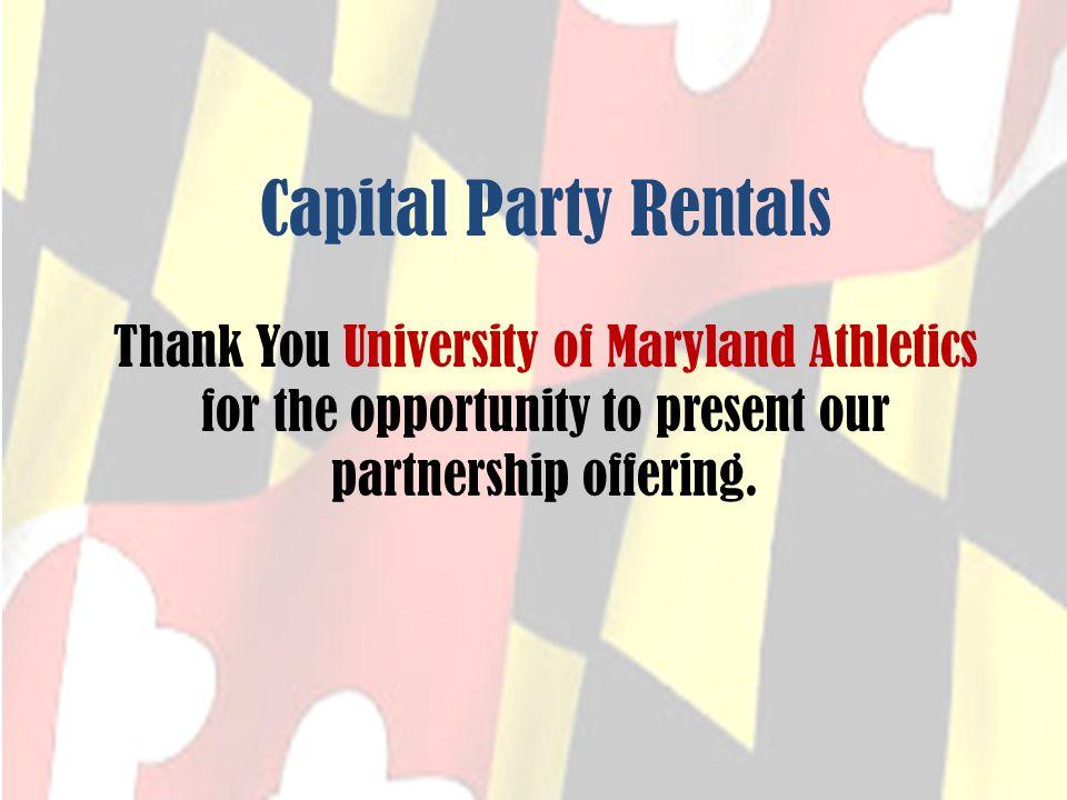 Capital Party Rentals University of Maryland Athletics Co-Branding