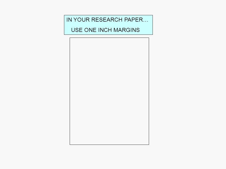 WRITING RESEARCH PAPERS USING THE MLA FORMAT IN YOUR RESEARCH PAPER