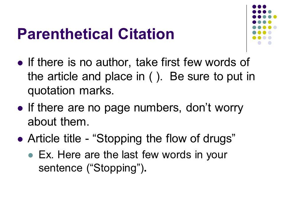 Parenthetical Citation Practice Exercises Parenthetical Citation
