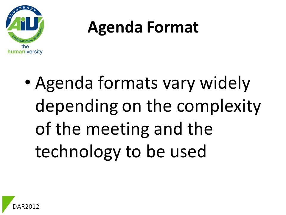 DAR2012 Professional English Meetings DAR2012 Introduction A - agenda formats