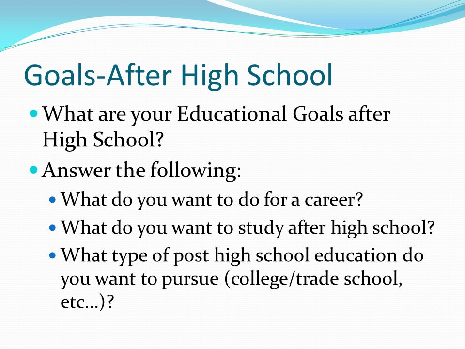 After High School Goals-After High School What are your Educational