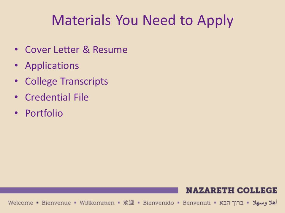 Education Job Search Presentation Nazareth College Office of Career - resume for applying to college