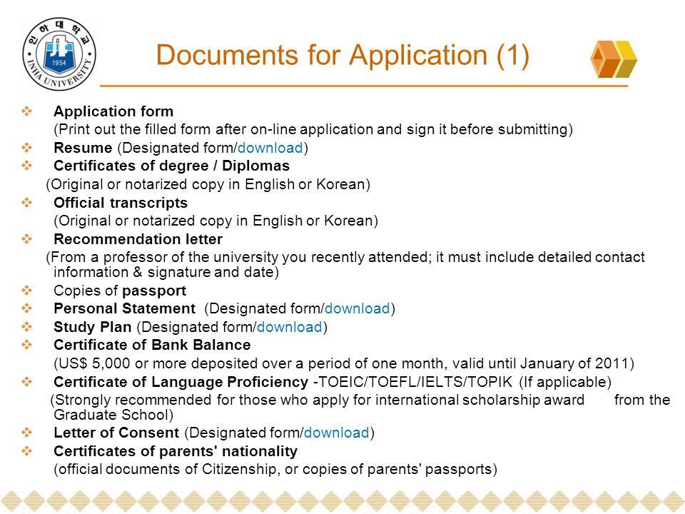 INHA Graduate School Application Guidelines for International - resume for graduate school application