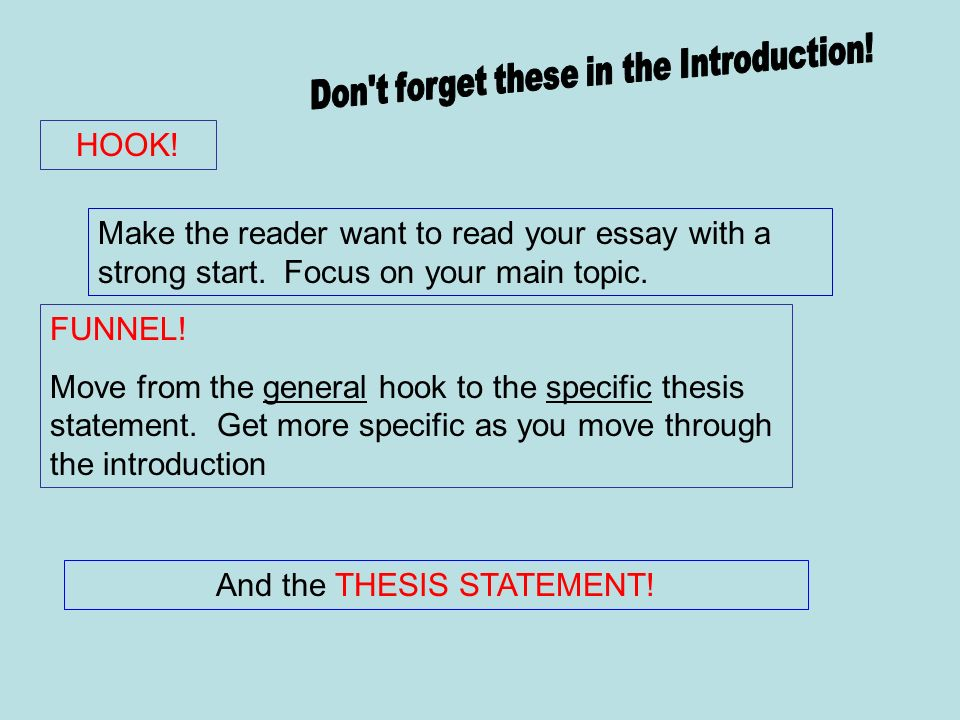 HOOK! Make the reader want to read your essay with a strong start