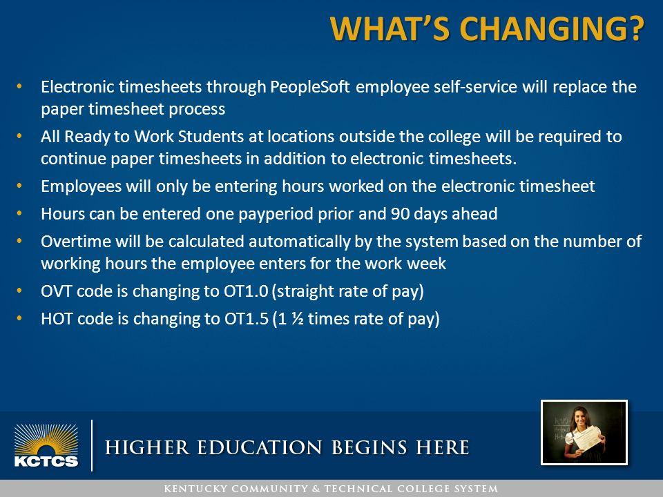 PEOPLESOFT TIMESHEET \u2013 SUPERVISOR TRAINING KCTCS Payroll Jefferson