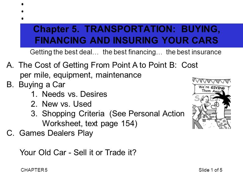 CHAPTER 5Slide 1 of 5 Chapter 5 TRANSPORTATION BUYING, FINANCING