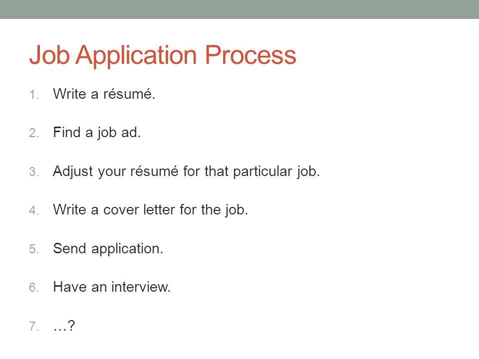 ACADEMIC ENGLISH III November 7 th Job Application Process 1 Write - find resume