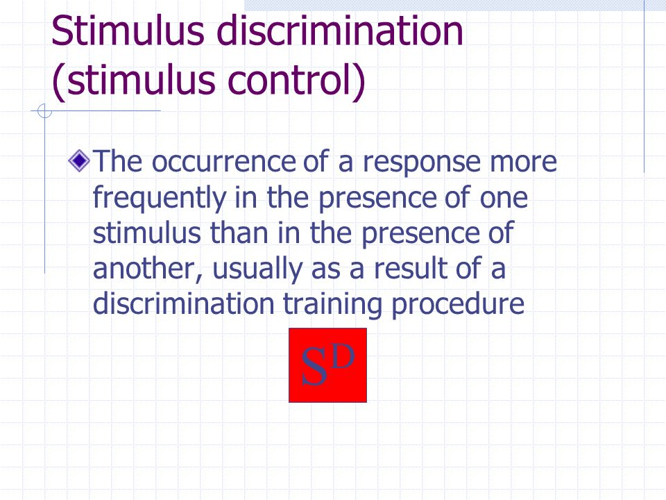 Discrimination Ch 12 TODAY DISCRIMINATION TRAINING STIMULUS CONTROL