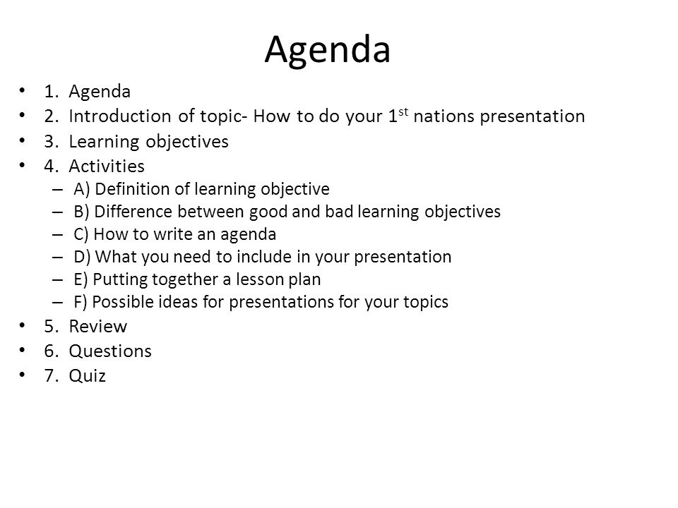 presentations topic 1 st nations project presentation example agenda - how to write an agenda template