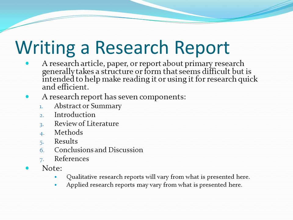 Writing a Research Report A research article, paper, or report - research paper covers