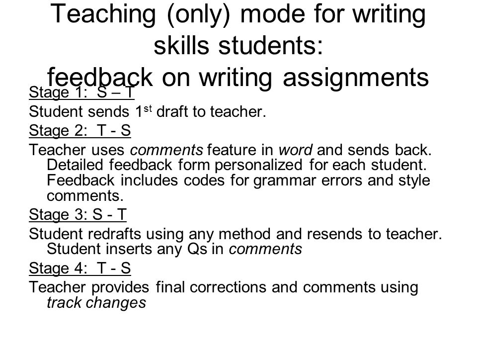 Giving feedback on students\u0027 written work at the United Nations