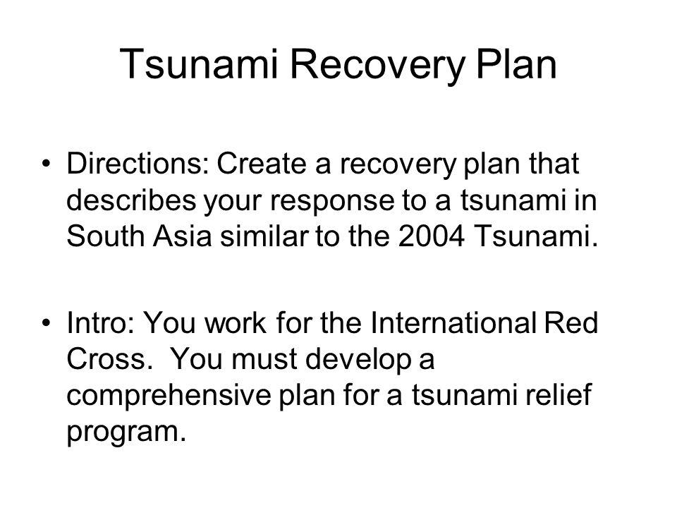 Tsunami Recovery Plan Directions Tsunami Recovery Plan Directions - recovery plans