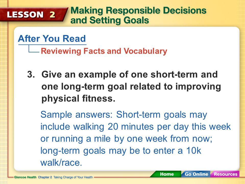 values decision-making skills goals short-term goal long-term goal