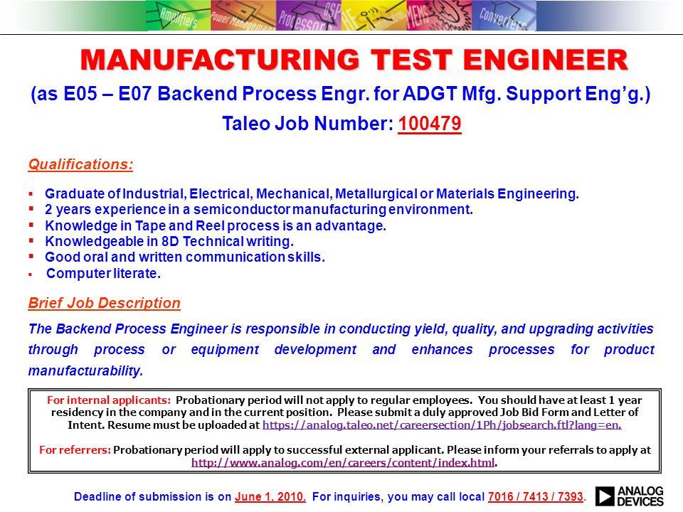 Process Engineer Job Description Below Is A List Of Process