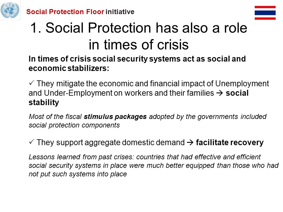 Social Protection Floor A UN Joint crisis initiative Experience from